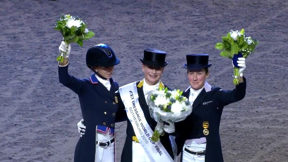 Graves, Werth and Langehanenberg at 2019 World Cup final podium