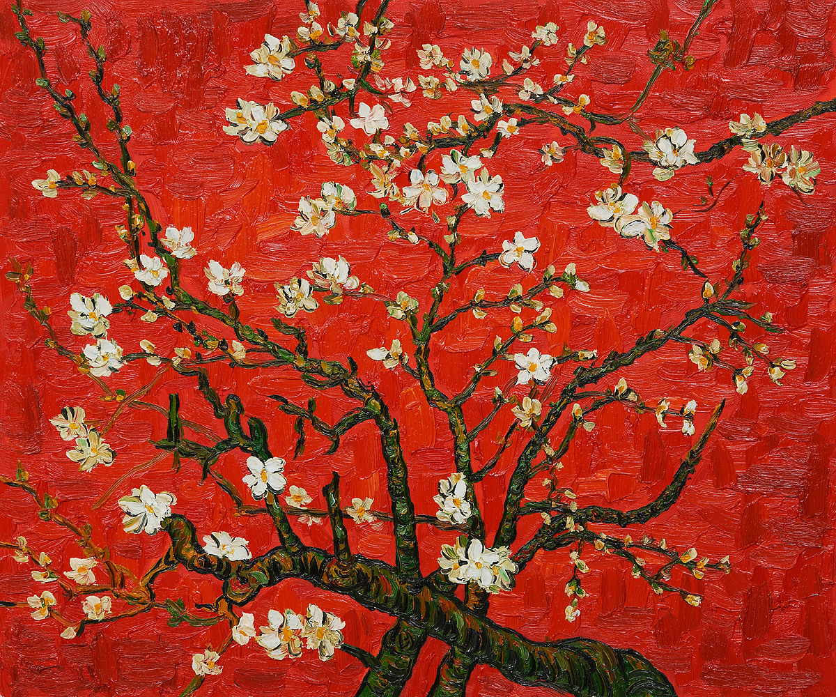 Vincent van Gogh ,   Branches of an Almond Tree in Blossom (Interpretation in Red) , 1890