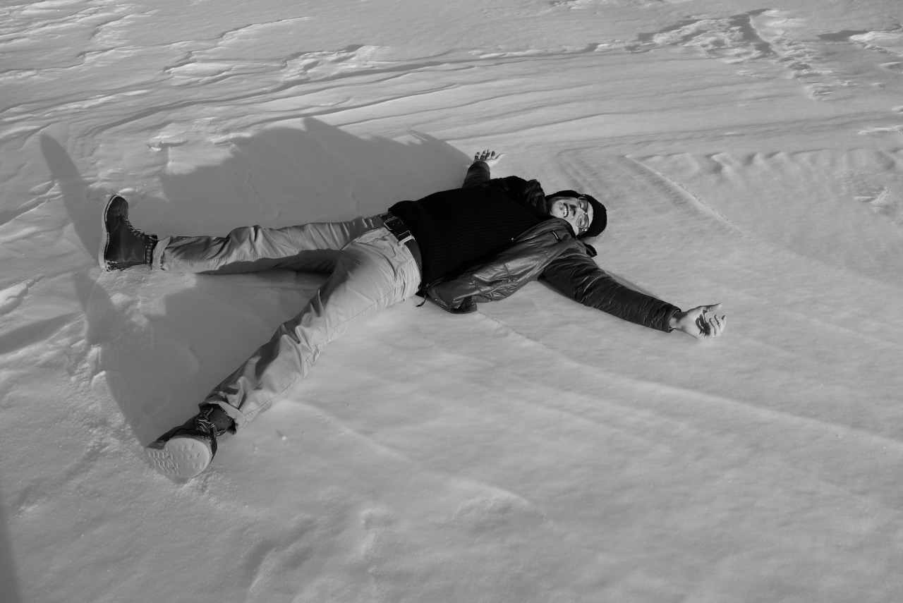 Snow angel on a frozen lake in Finland