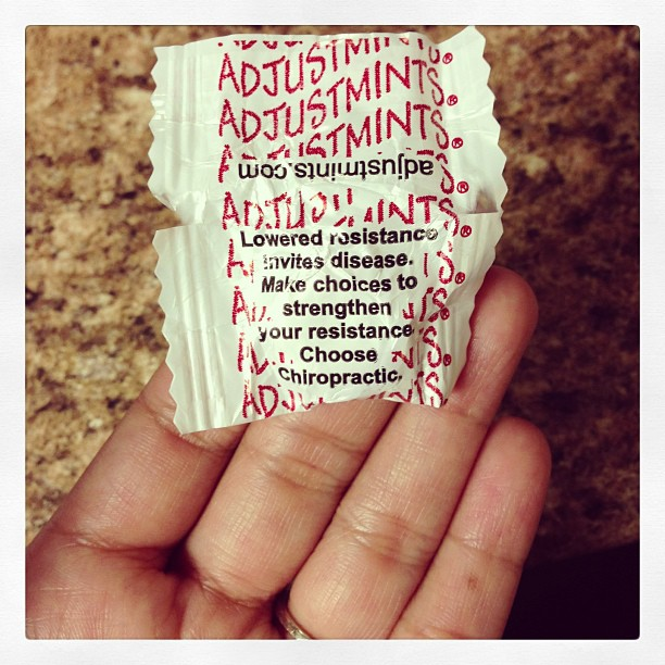 curiouscristie :     Only at my job would we have #chiropractic adjustmints! Lol