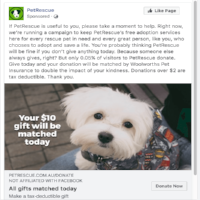 Facebook ad targeting PetRescue website users