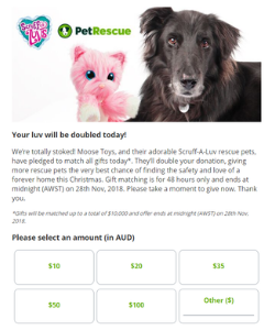 Gift matching pop-up donation form
