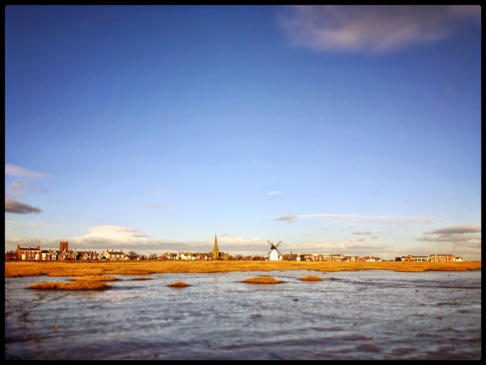 Lytham St Annes Lancashire England windmill sea beach sand grass bright blue sky church spire iphone image iphonography iPhone4s lee ramsden photography