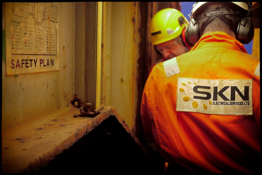SKN electrical services Aberdeen Azerbaijan rope access IRATA professional work safe no LTI record Blackpool offshore compex inspection