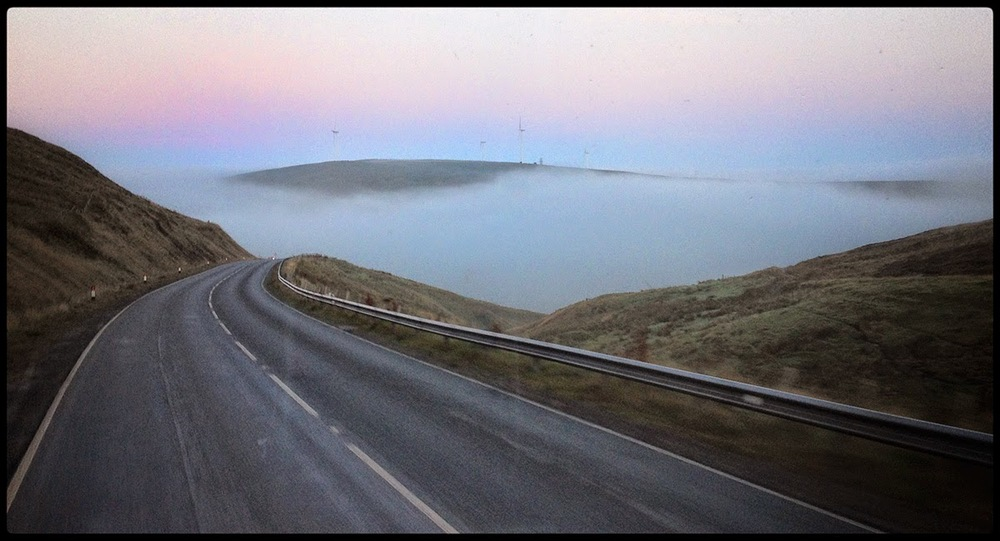 Shetland Scalloway cloud wind farm fog golf course road tarmac valleys colourful sky sun rise