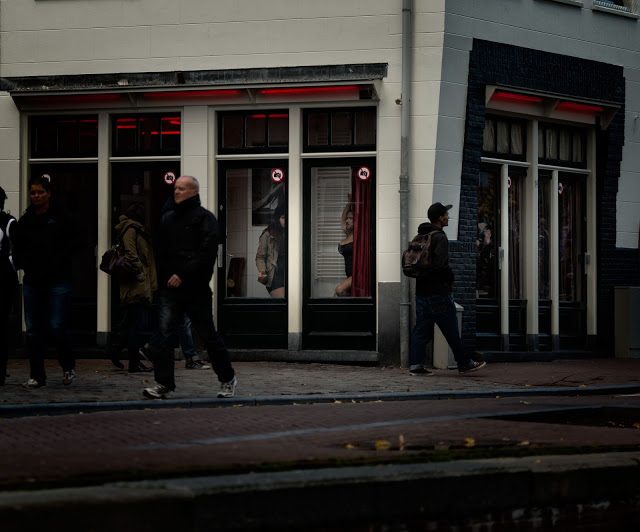 Amsterdam red light district girls in the windows