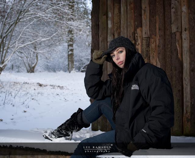 The North Face sponsored Kelly Moss Ramsden snow outdoor flash light Ashridge Berkhamsted Hertfordshire