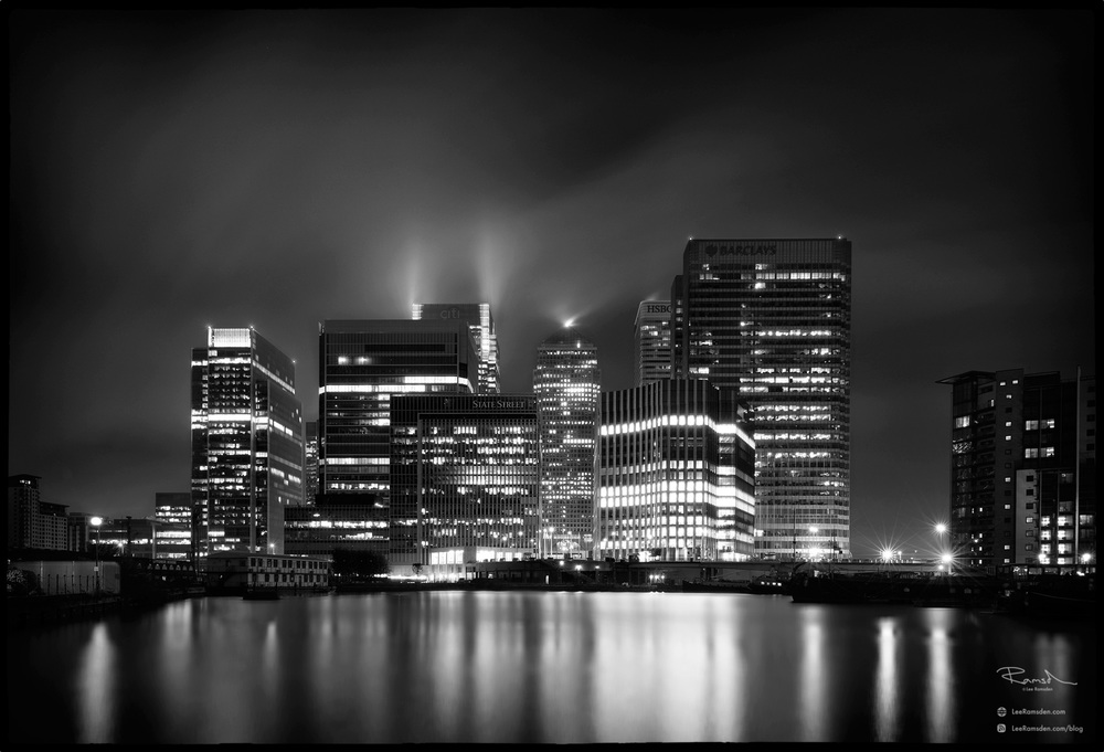 """<img src=""""Canary Wharf.jpg"""" alt=""""Black and white monochrome Canary Wharf London river Thames financial district long exposure lee filters sunset sunrise dusk dawn Lee Ramsden"""">"""