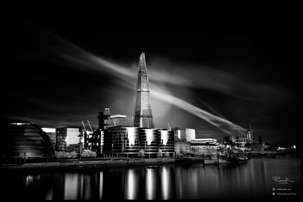 """<img src=""""Black and white morelondon"""" alt=""""lack and white monochrome morelondon infrared hoya R72 filter The Shard vewing gallery town hall Lee Ramsden"""">"""