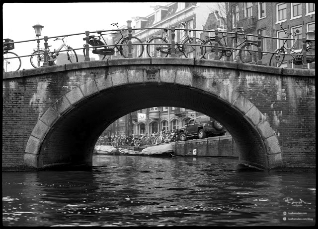 Amsterdam Canal Bridge Tunnel With push bikes