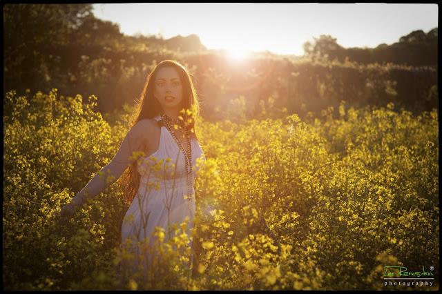 Kelly ramsden moss in a rape seed field yellow flowers sunset