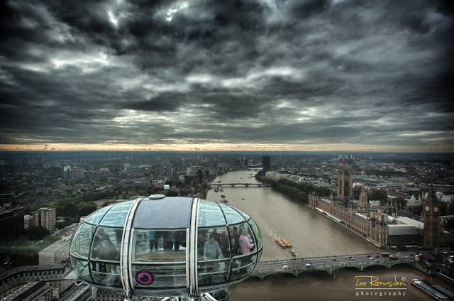 HDR image London eye westminster big ben
