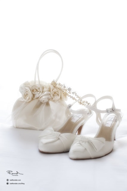 Mr and Mrs Morris wedding photography Hertfordshire details shoes and handbag