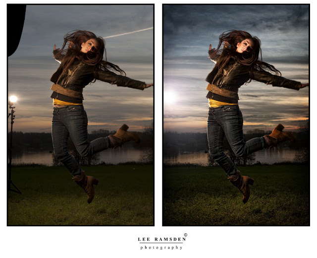 Before and after example of retouching on photoshop, Kelly moss ramsden jumping in the air retouched photo