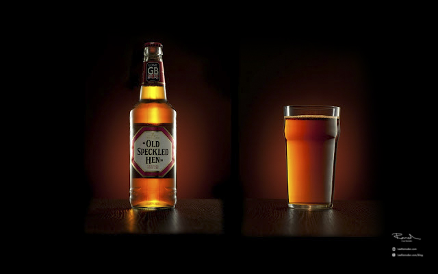 Product photography Old speckled hen real ale craft beer photo