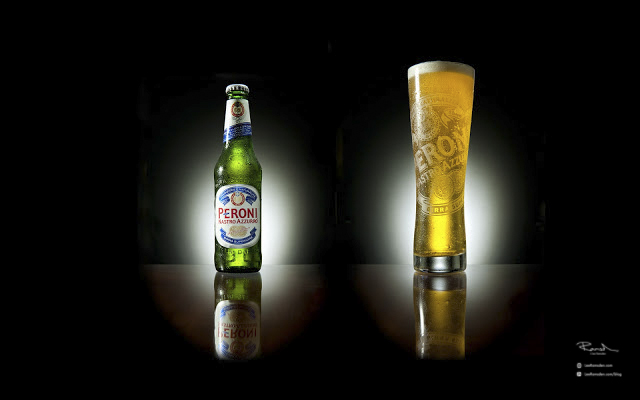 Product photography Peroni itallian lager