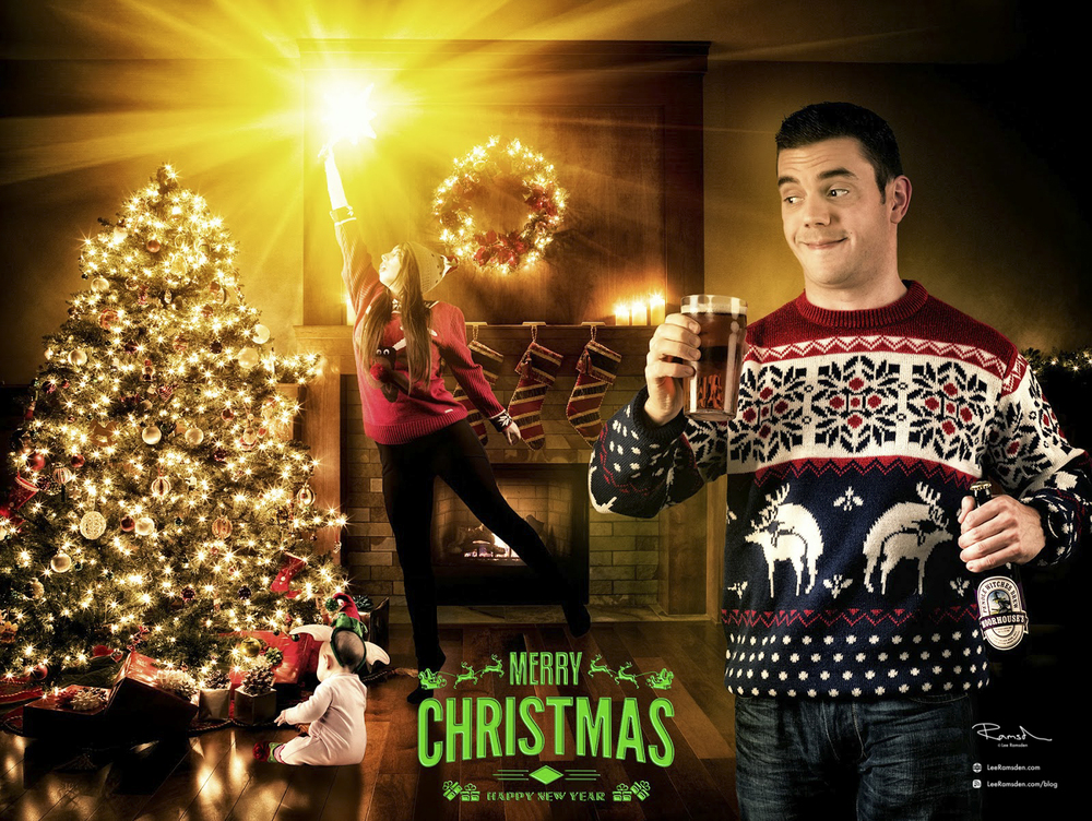 Christmas Jumper star, bright composite fun parody lancashire photograher photoshop design