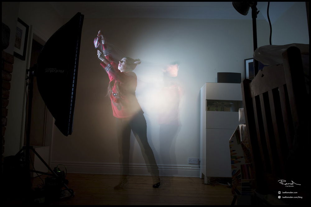Double light exposure flash strobe continuous light tutorial playing painting with light