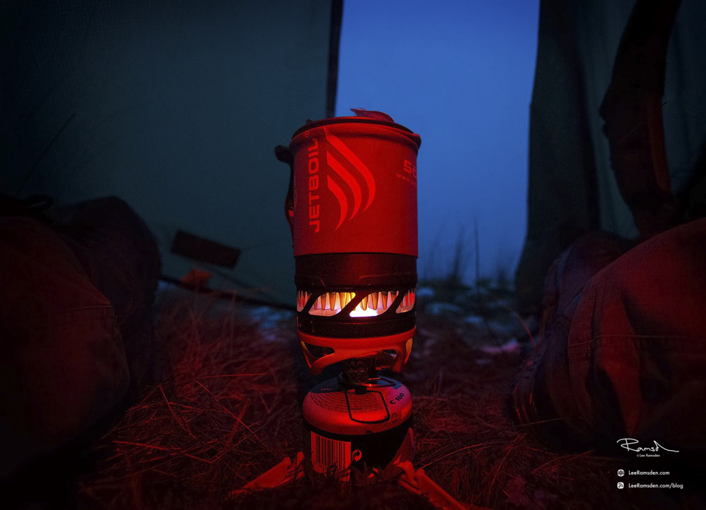 Helvellyn Lake District Cumbria camping breakfast jetboil stove