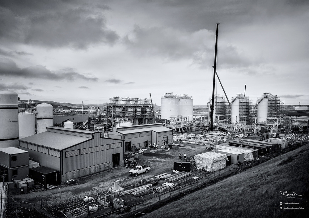Shetland gas plant construction crane work in progress