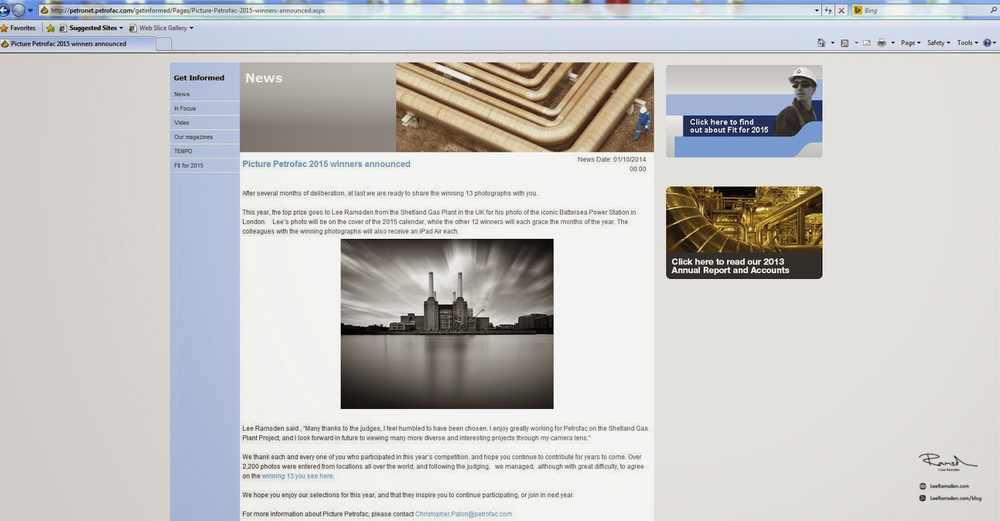 Petrofac picture, competition winner global intranet