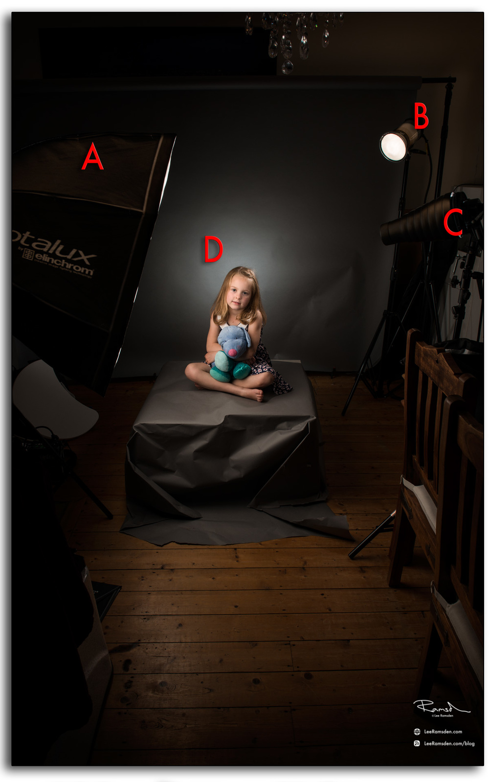 Lee Ramsden lighting set up, behind the scenes BTS elinchrom ranger quadra nikon D800 small home studio