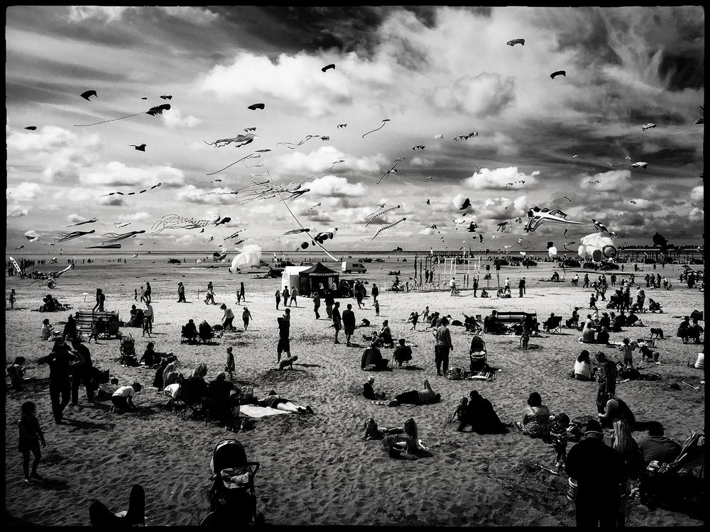 Lytham St Annes kite festival Lancashire beach sea Blackpool Lee Ramsden photography professional iPhone 6 black and white landscape