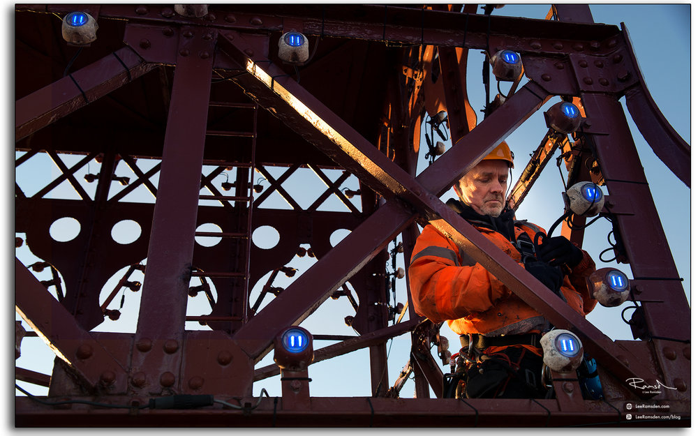09 Wesley Berry Wez top of Blackpool Tower changing the light bulbs IRATA rope access photography by Lee Ramsden