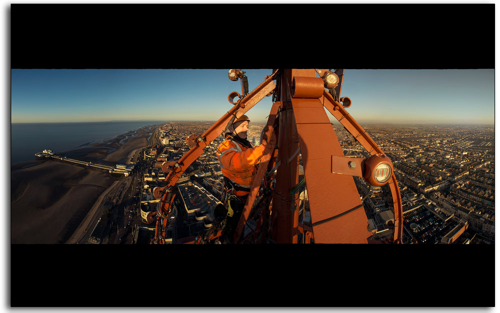02 Wesley Berry Wez top of Blackpool Tower changing the light bulbs IRATA rope access photography by Lee Ramsden.jpg