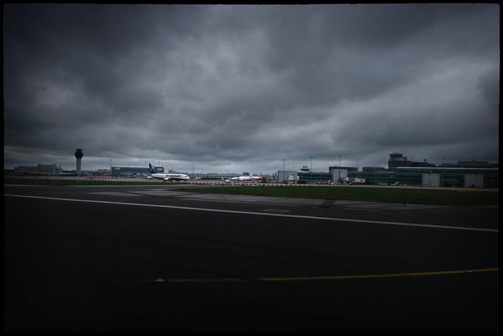 Manchester airport dark moody sky Ryanair flight jet plane areoplane lee ramsden