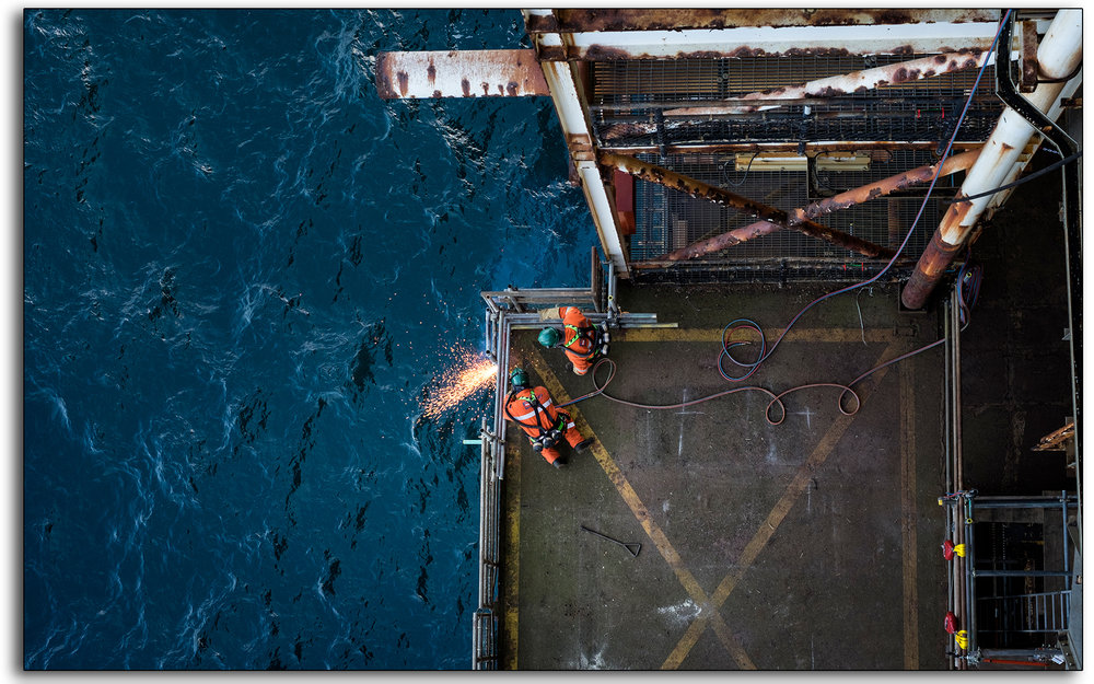 Rig burning, welding, oxygen, acetylene, cutting, BP Miller, Decommissioning, industrial, removal, Saipem, Petrofac, BP, Lee Ramsden, hotwork 01.jpg
