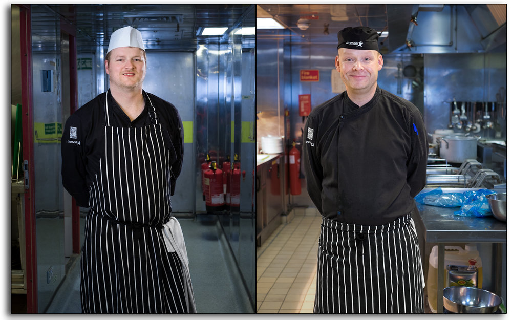 Catering, chefs, cooks, kitchen, working, industrial, aramark, offshore, north sea, hospitality, oil rig, BP Miller, Petrofac, hotel, Photo by Lee Ramsden..jpg
