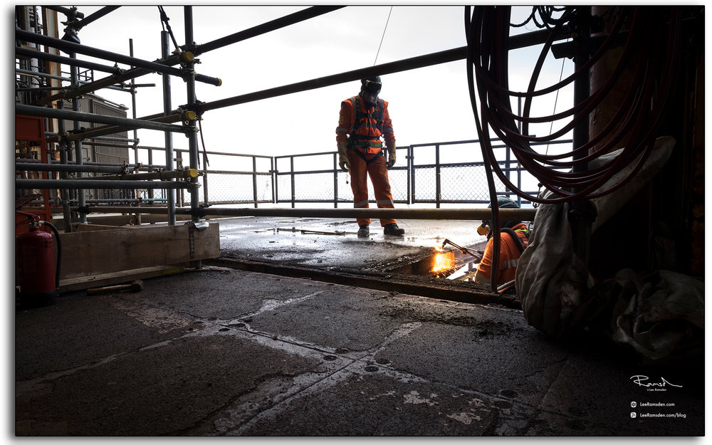 blog, Rig burning, welding, oxygen, acetylene, cutting, BP Miller, Decommissioning, industrial, removal, Saipem, Petrofac, BP, Lee Ramsden, hotwork 02