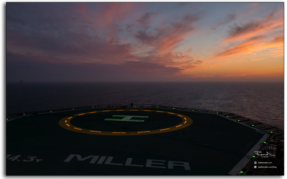 blog, Miller, helideck, sunset, sunrise, landing pad, offshore, oil and gas industry, north sea, Aberdeen, Lee Ramsden, Petrofac, BP, Saipem