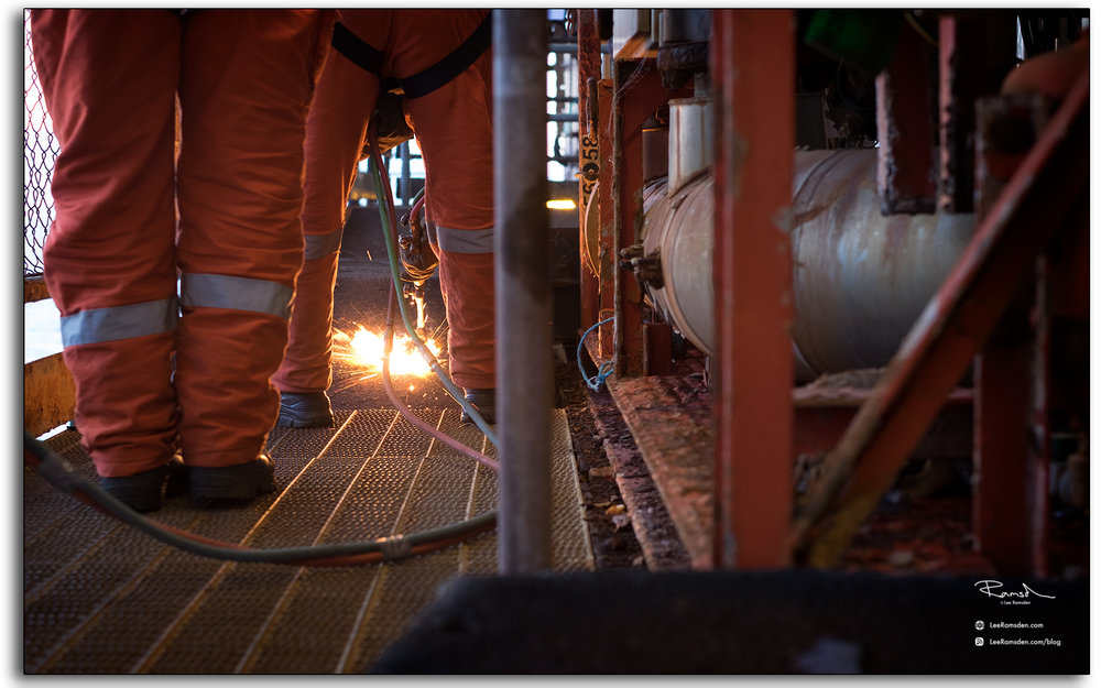 BP Miller, decommissioning, Petrofac, Saipem, BP, buring, oxygen, acetylene, rig removal, industrial, north sea, photo taken by Lee Ramsden
