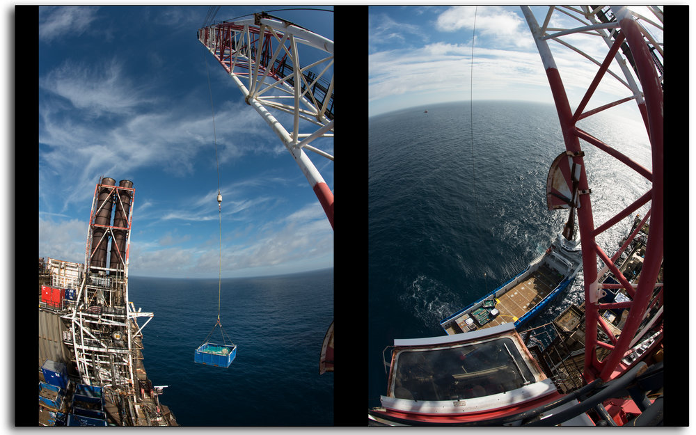 offshore, north sea, crane, lifting containers, to the boat, supply vessel, oil and gas industry, photo by Lee Ramsden