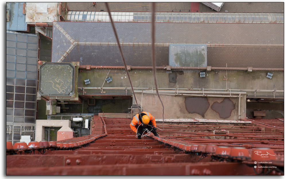 Blackpool tower, abseiling, industrial worker, in orange ppe, LEE RAMSDEN