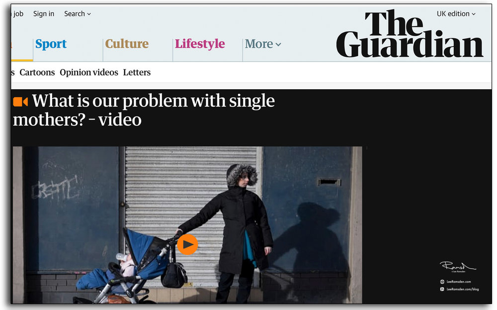 The Guardian, news paper, website, single mothers, problem, lee ramsden