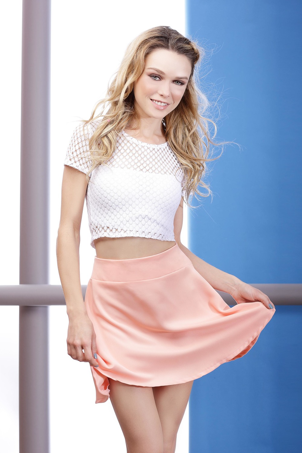 SUMMER LACE CROP TOP & PEACH WAVE SKIRT