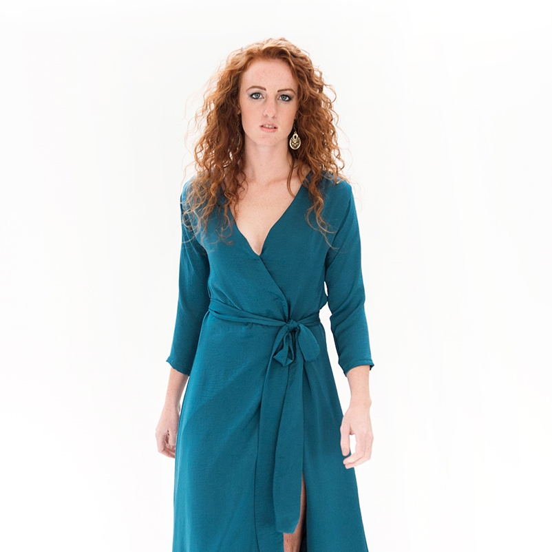 FALL GODDESS DRESS TEAL