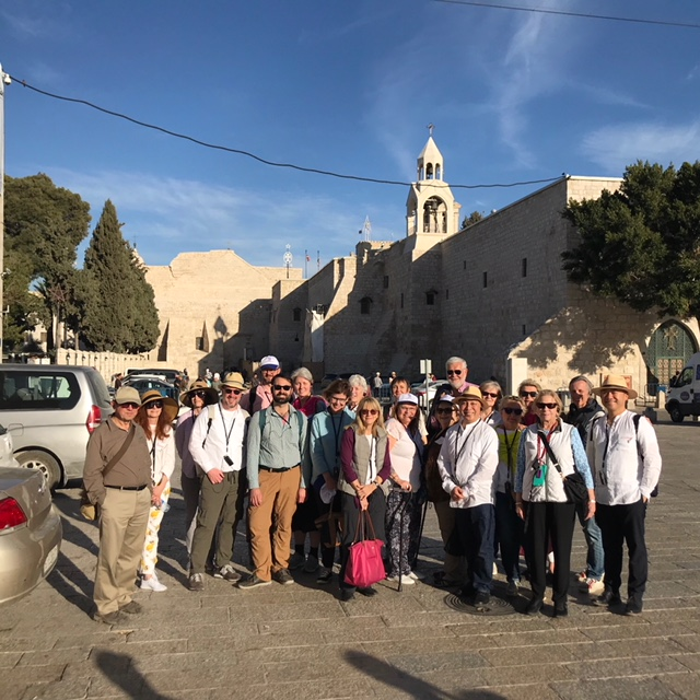 Our pilgrims in front of Church of the Nativity in Bethlehem