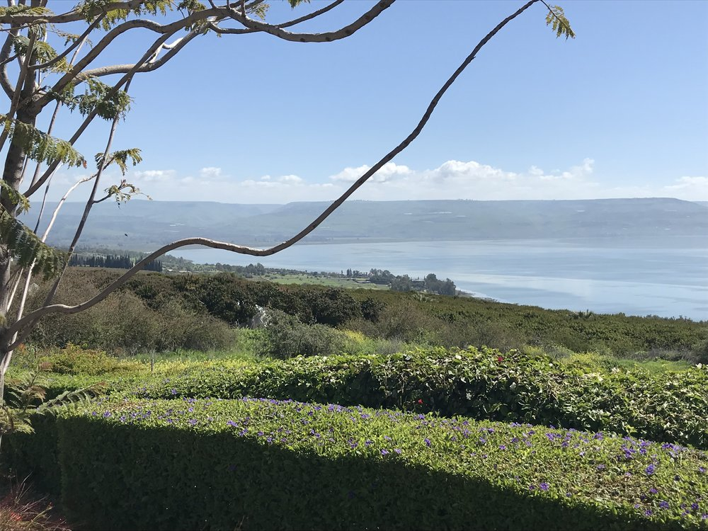 Mount of Beatitudes, view over the Sea of Galilee