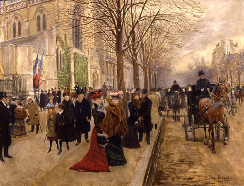 Après l'office à l'église de la Sainte-Trinité, Noël 1890 by JEAN BERAUD