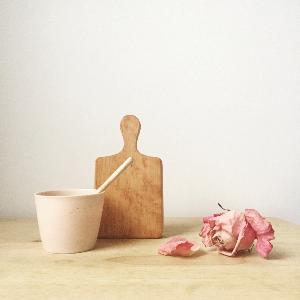 English Rose,  porcelain cup  &  maple board