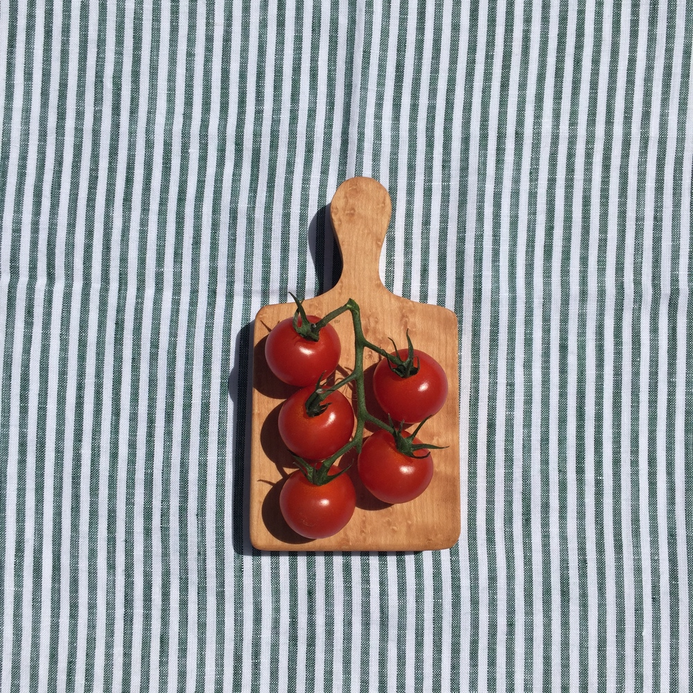 Irish Linen Tea Towel, 31 Chapel Lane; Mini Jigsaw Food Board, Rosie Brewer (add tomatoes...from your gro-bag?)