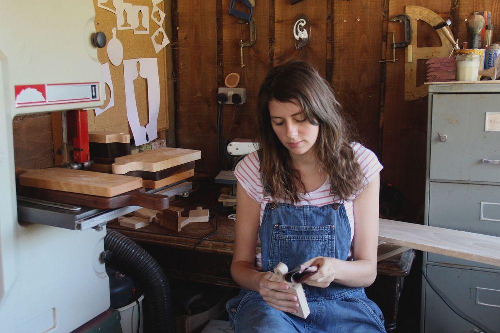 Rosie Brewer in her workshop in Devon