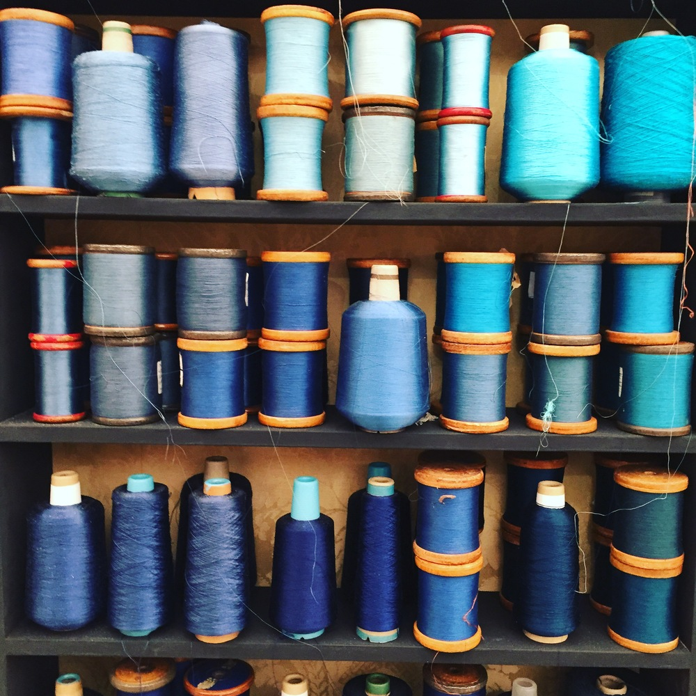 Colour Order Blue silk on the Gainsborough Silk Weaving Co stand at Decorex, Syon House