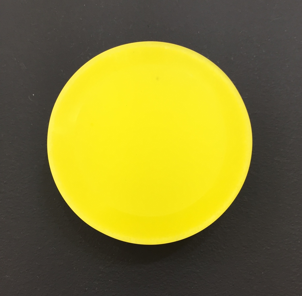 Yellow Glass Small Round Box, by Andrea Walsh (fine bone china and kilncast glass)