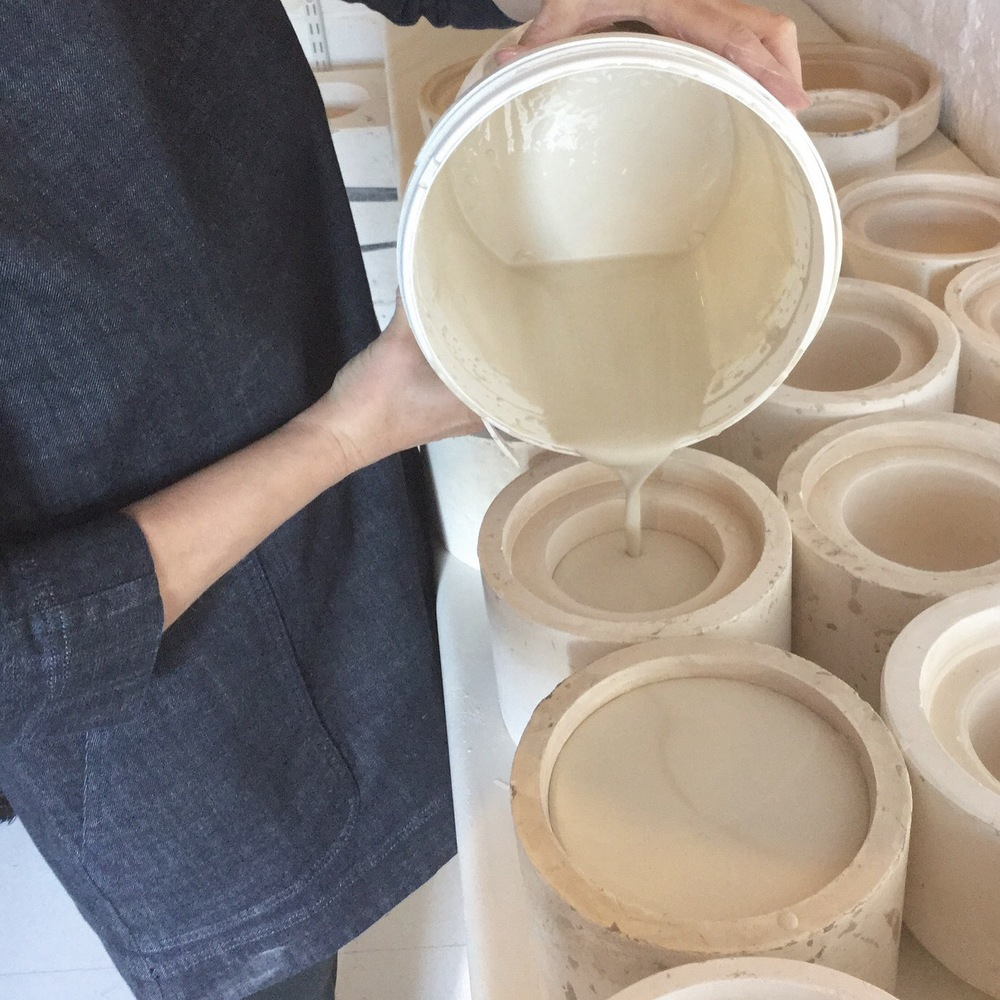 Slipcasting; moulds lined up and ready