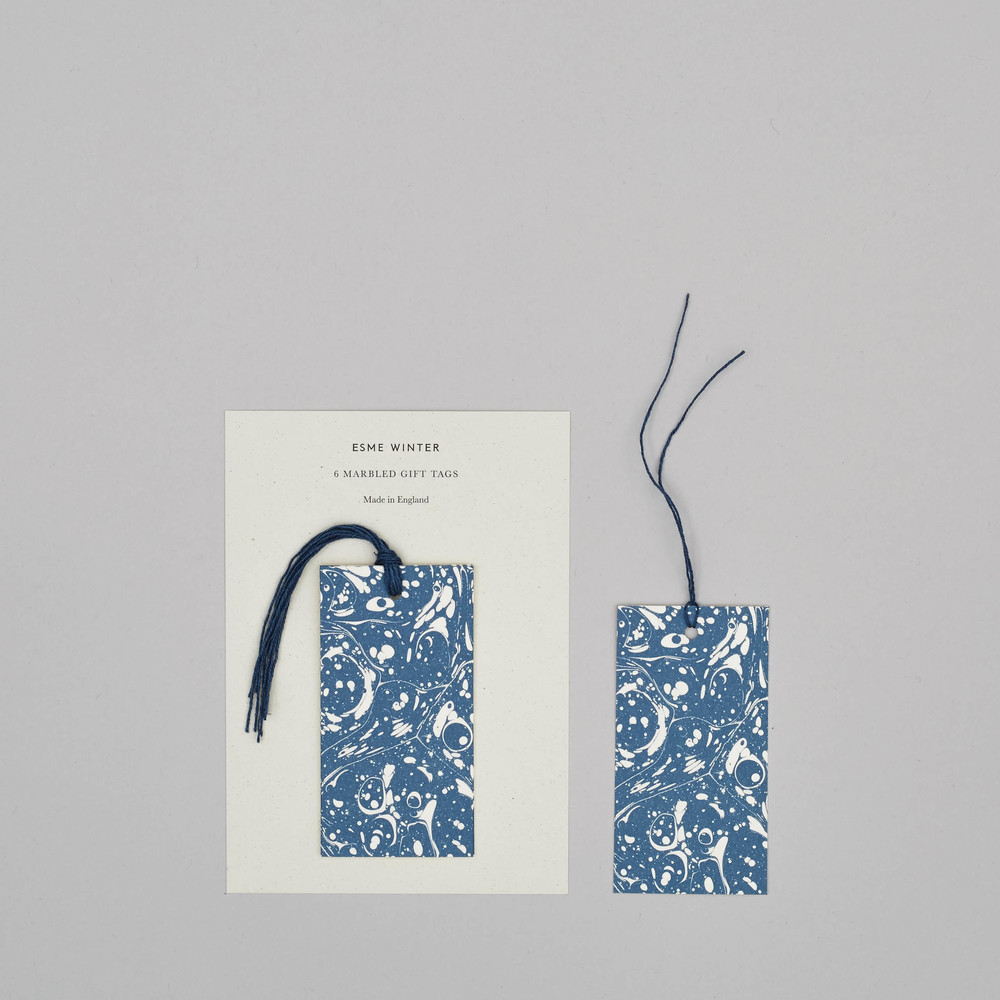 Esme Winter Charcoal Blue Marbled Gift Tag, set of 6, £5.50